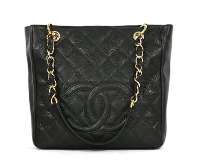 Lot 741-A Chanel black Caviar Petit shopping tote PST