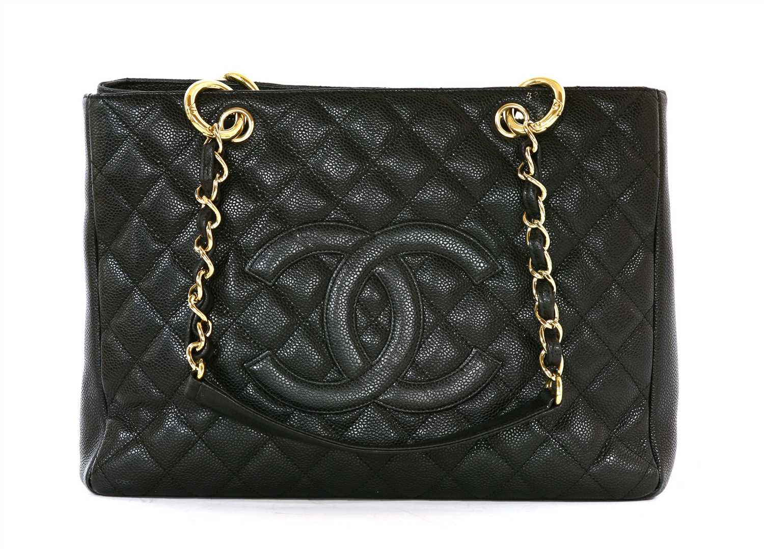 a0ac4caf8520 Lot 740-A Chanel black Caviar Grand shopping tote GST