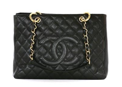 Lot 740-A Chanel black Caviar Grand shopping tote GST