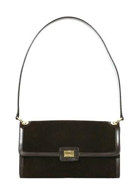 Lot 763-A Salvatore Ferragamo brown suede leather shoulder handbag