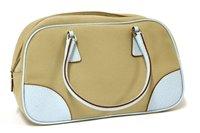 Lot 759-A Prada canvas and blue leather bowling handbag