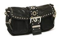 Lot 757-A Prada black canvas and leather 'biker' style handbag