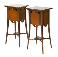 Lot 4-A pair of Art Nouveau mahogany and inlaid bed side cabinets
