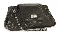 Lot 743-A Chanel black patent leather re-issue Accordion flap handbag