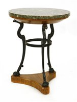 Lot 553-A Regency oak, iron and marble-topped guéridon
