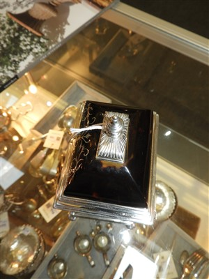 Lot 115-A silver and tortoiseshell eight-day timepiece