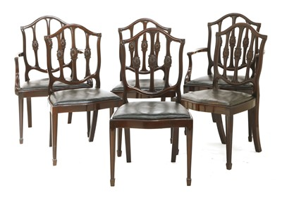Lot 40-A set of twelve mahogany Hepplewhite-style dining chairs