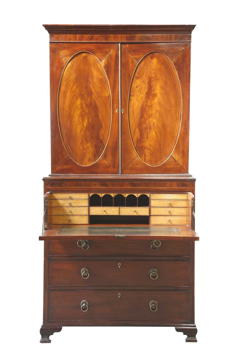 Lot 12-A George III strung mahogany secretaire bookcase