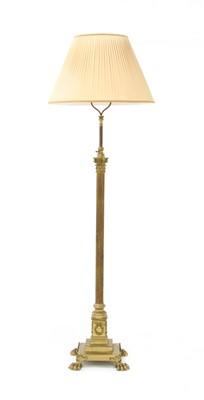 Lot 104 - A brass Corinthian column standard lamp