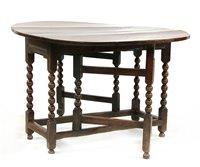 Lot 530-A Charles II oak gateleg dining table