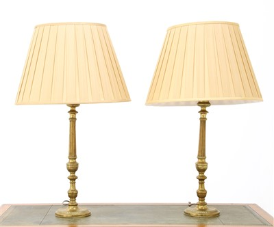 Lot 124 - A pair of brass 'candlestick' table lamps