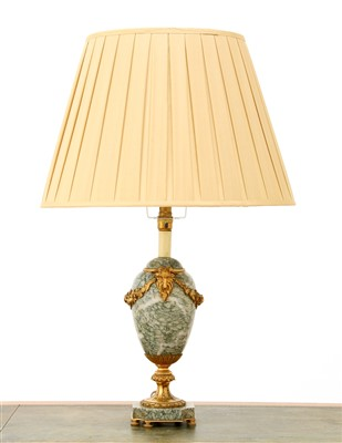 Lot 154-A French green-veined marble table lamp