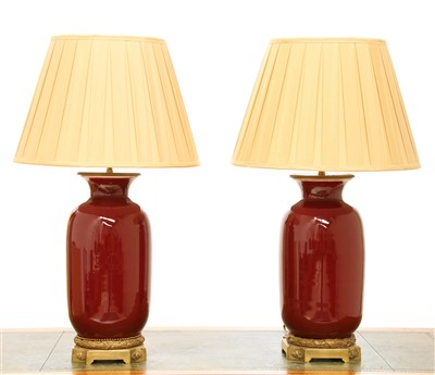 Lot 44-Two similar modern sang-de-boeuf vase table lamps