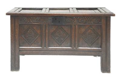 Lot 168 - An oak three-panelled coffer