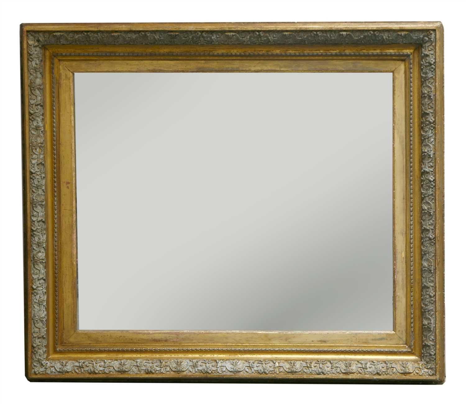 Lot 5-A large Victorian gilt and painted gesso wall mirror