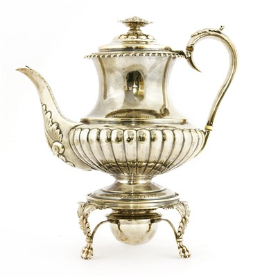 Lot 1-A George lV silver coffee pot