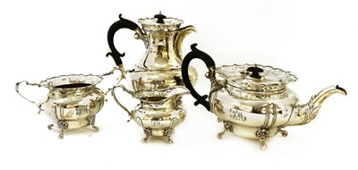 Lot 12-A four-piece silver tea and coffee set