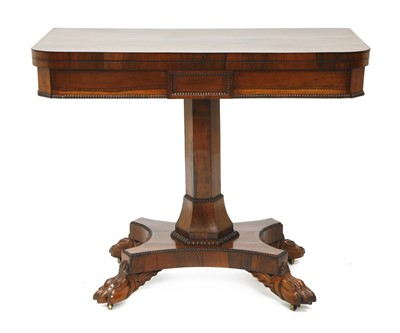 Lot 205 - A Victorian rosewood fold-over card table