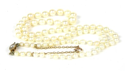 Lot 5-A single row graduated cultured pearl necklace