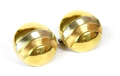 Lot 4-A pair of Continental three colour gold dome earrings