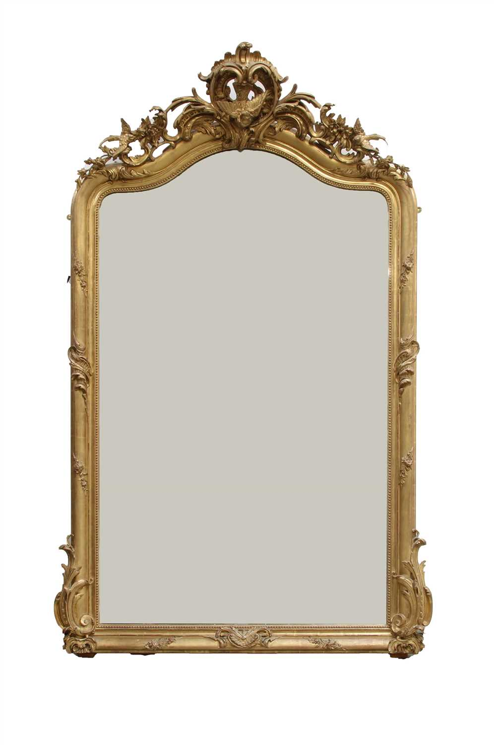 Lot 15 - A Victorian carved giltwood and gesso overmantel mirror