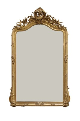 Lot 15-A Victorian carved giltwood and gesso overmantel mirror