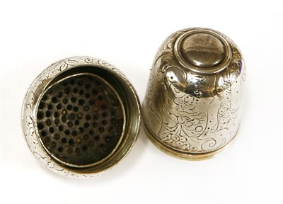 Lot 33-A George III silver nutmeg grater