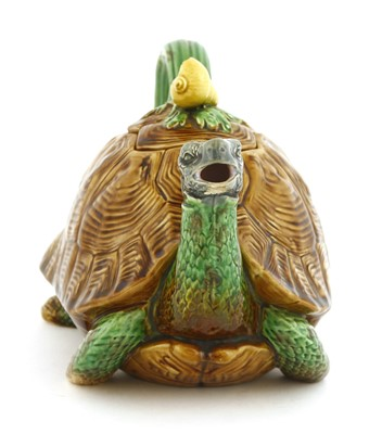 Lot 161-A Minton Majolica tortoise teapot and cover