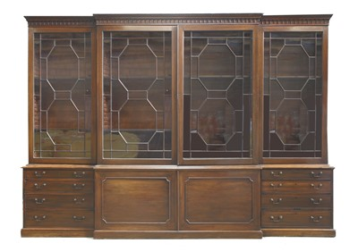 Lot 148 - A George III-style mahogany breakfront bookcase