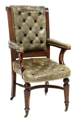Lot 186 - A mahogany library chair
