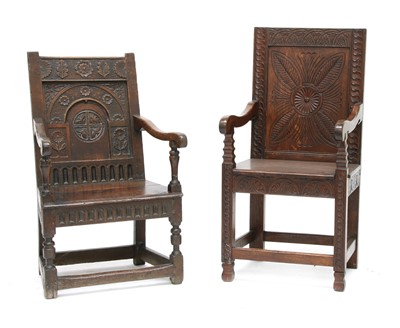 Lot 169 - Two 17th century-style oak wainscot chairs