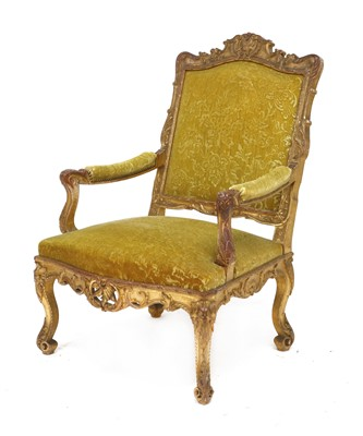 Lot 33 - A French giltwood open armchair