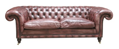 Lot 119 - A modern leather three-seater chesterfield settee
