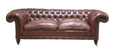 Lot 120 - A modern leather three-seater chesterfield settee
