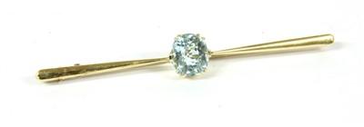 Lot 8A-A cased single stone oval mixed cut aquamarine bar brooch