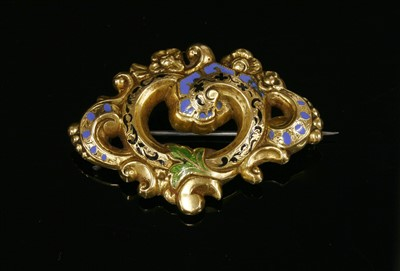 Lot 19-A Victorian gold and enamel scrolling foliate brooch