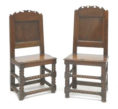 Lot 173 - A pair of oak back stools