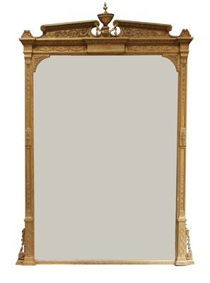 Lot 106 - A large Victorian gilt overmantel mirror