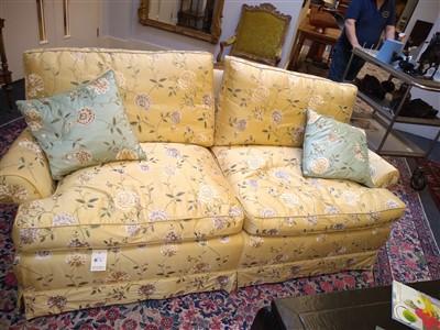 Lot 10 - A modern silk upholstered settee