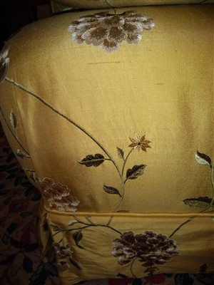 Lot 10-A modern silk upholstered settee