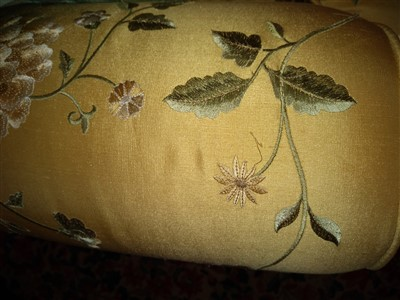Lot 10-A modern silk upholstered settee