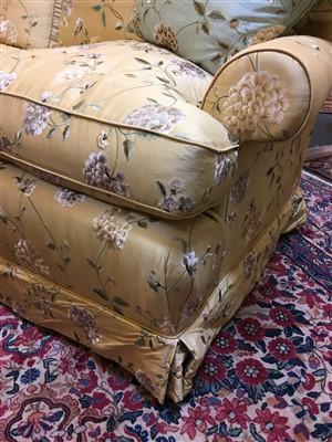 Lot 11-A modern silk upholstered settee