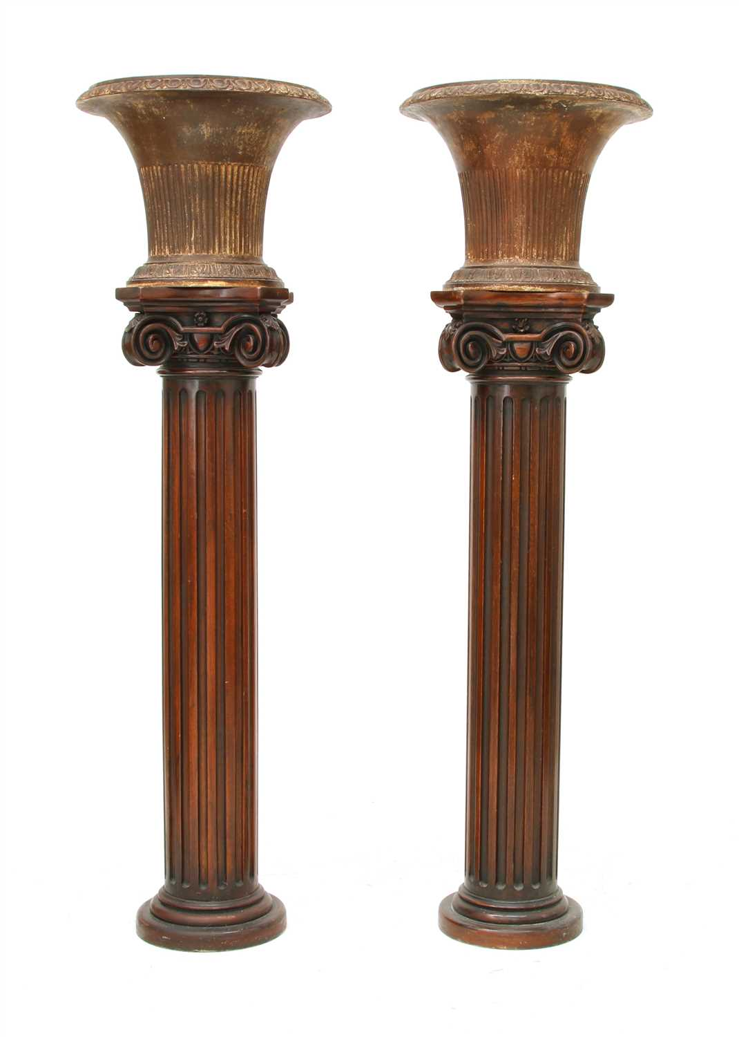Lot 52 - A pair of iron urns