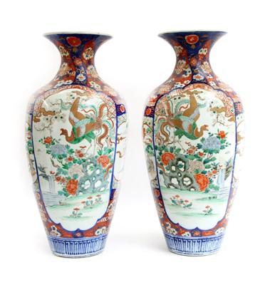 Lot 47-A pair of Imari baluster vases