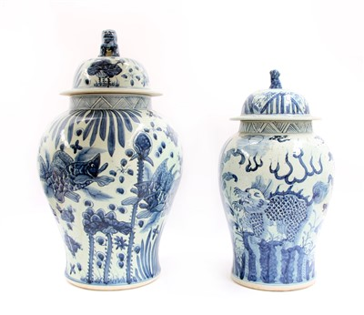 Lot 117 - Two Chinese blue and white baluster vases and covers