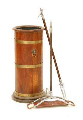 Lot 198 - A brass bound, coopered oak stick stand