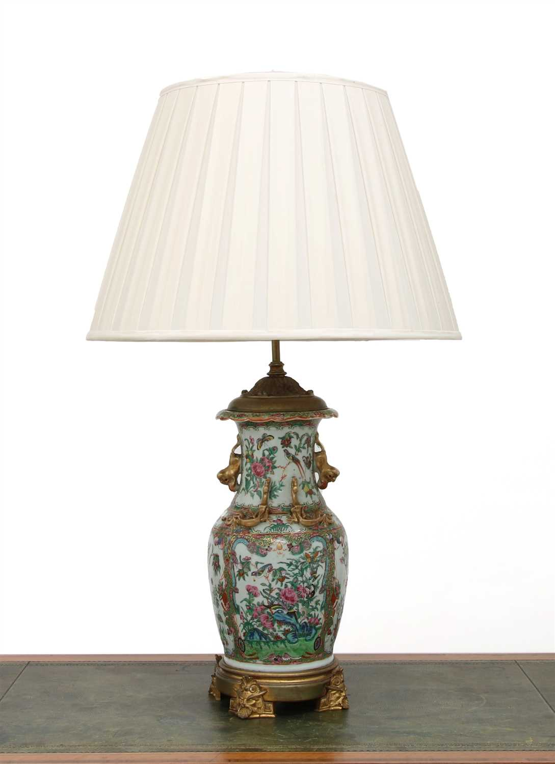 Lot 26 - A Cantonese vase table lamp