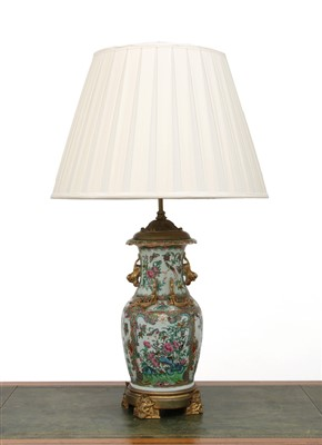 Lot 26-A Cantonese vase table lamp