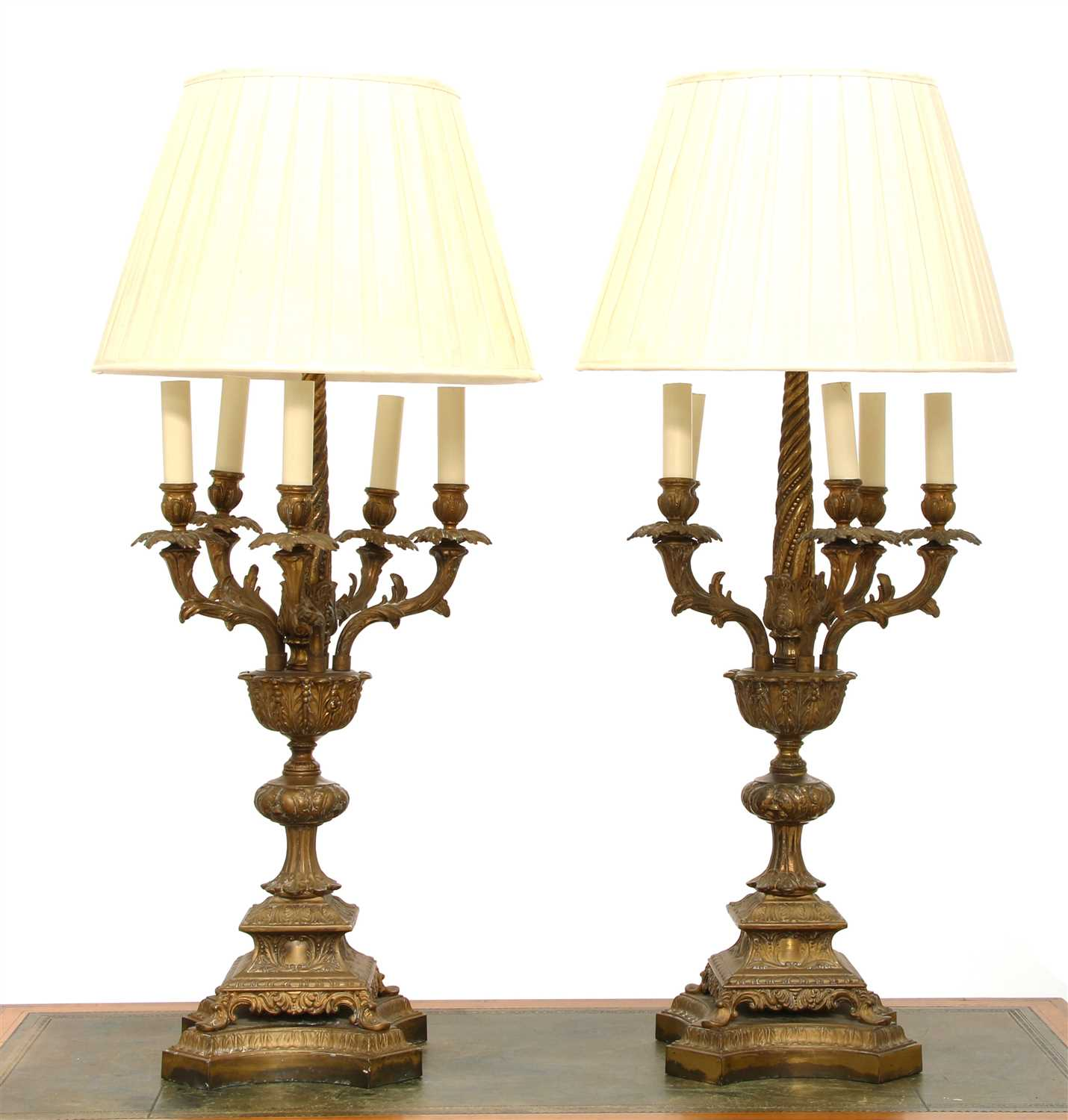 Lot 42 - A pair of brass six-light table lamps