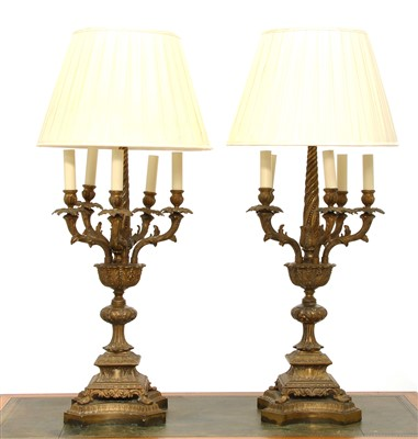 Lot 42-A pair of brass six-light table lamps